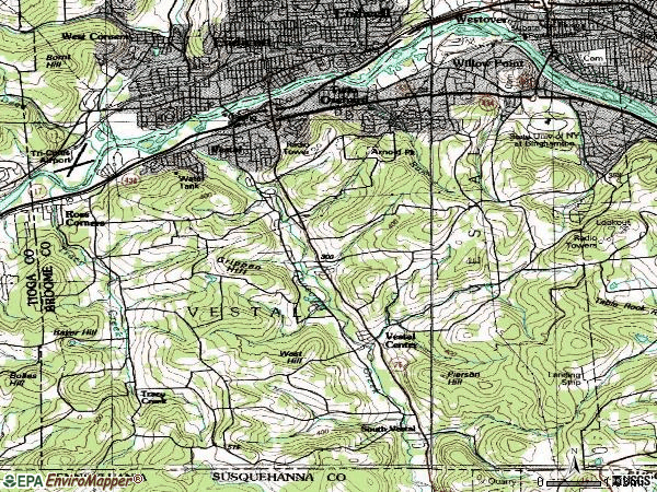 Zip code 13850 topographic map