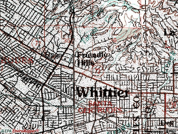 Zip code 90603 topographic map