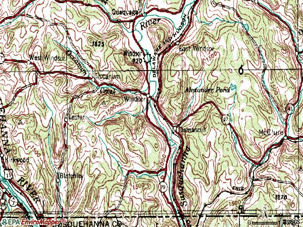 Zip code 13865 topographic map