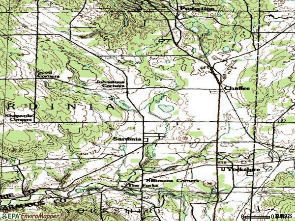 Zip code 14030 topographic map
