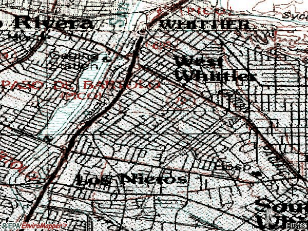Zip code 90606 topographic map