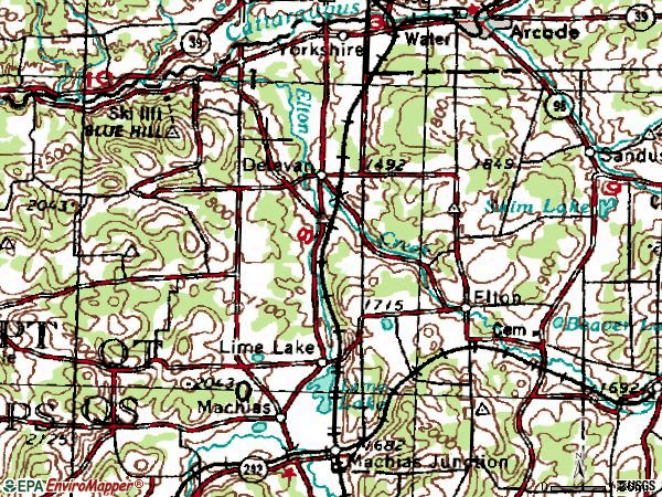 Zip code 14042 topographic map