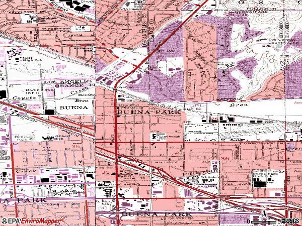 Zip code 90621 topographic map