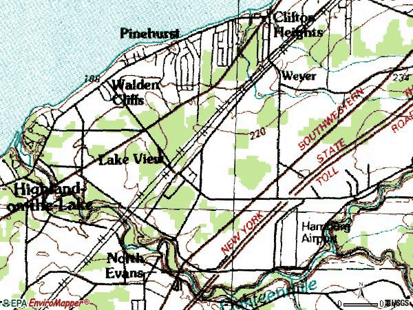 Zip code 14085 topographic map