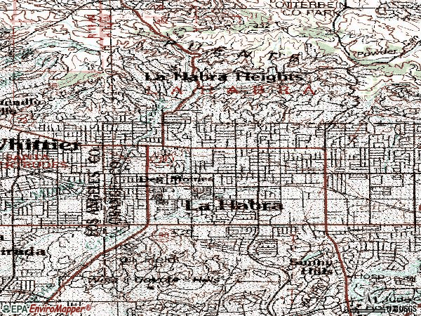 Zip code 90631 topographic map