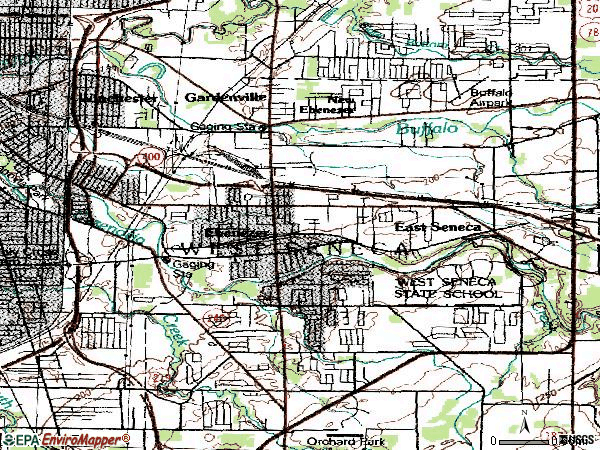 Zip code 14224 topographic map