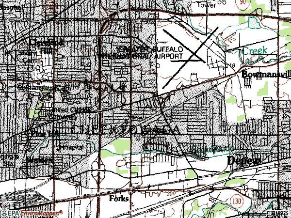 Zip code 14225 topographic map