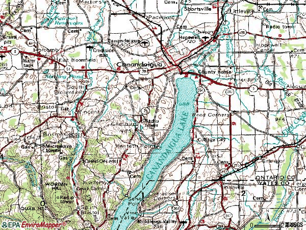 Zip code 14424 topographic map