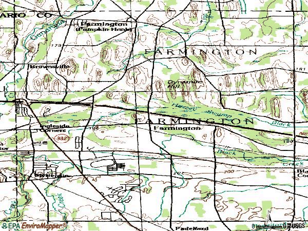 Zip code 14425 topographic map