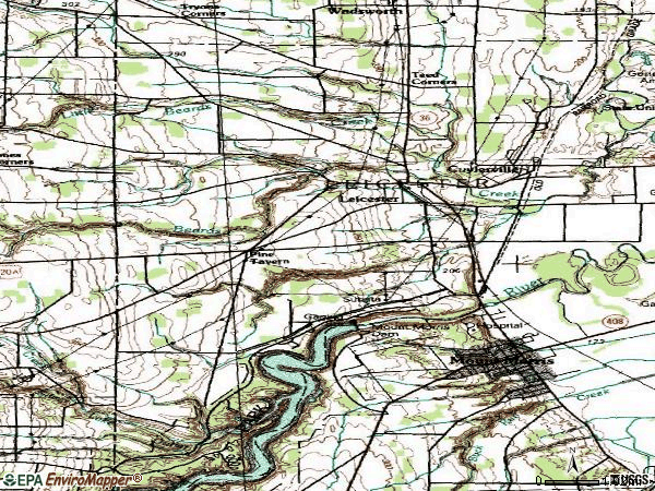 Zip code 14481 topographic map