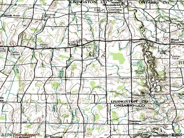 Zip code 14485 topographic map