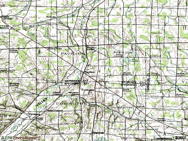 Zip code 14525 topographic map