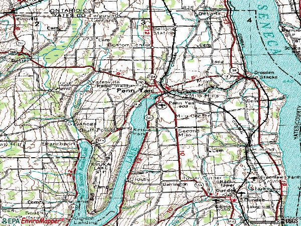 Zip code 14527 topographic map