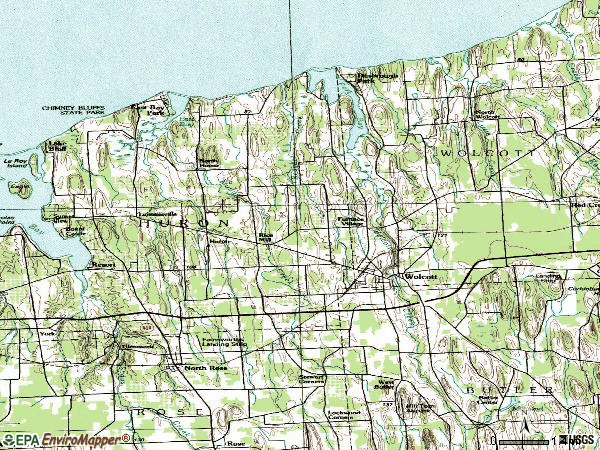 Zip code 14590 topographic map