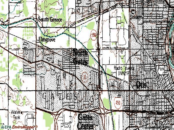 Zip code 14606 topographic map