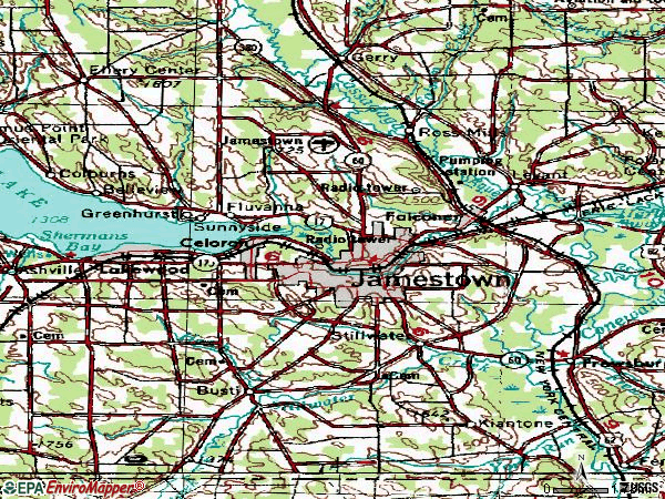 Zip code 14701 topographic map