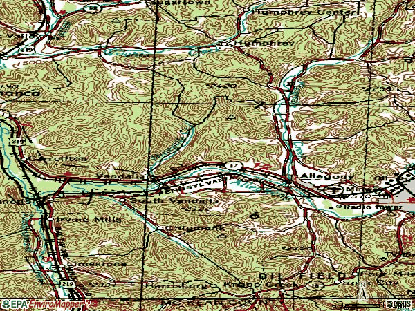 Zip code 14706 topographic map