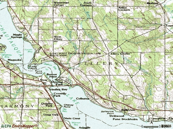 Zip code 14712 topographic map