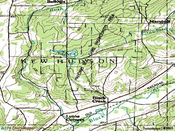 Zip code 14714 topographic map