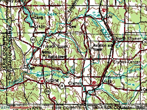 Zip code 14724 topographic map