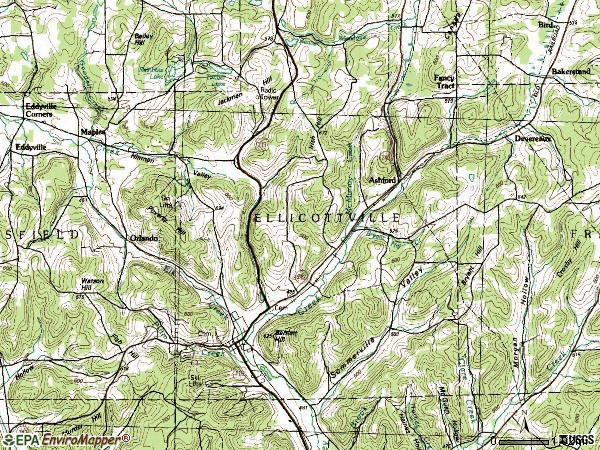 Zip code 14728 topographic map