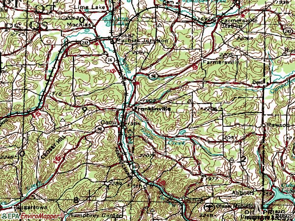 Zip code 14737 topographic map