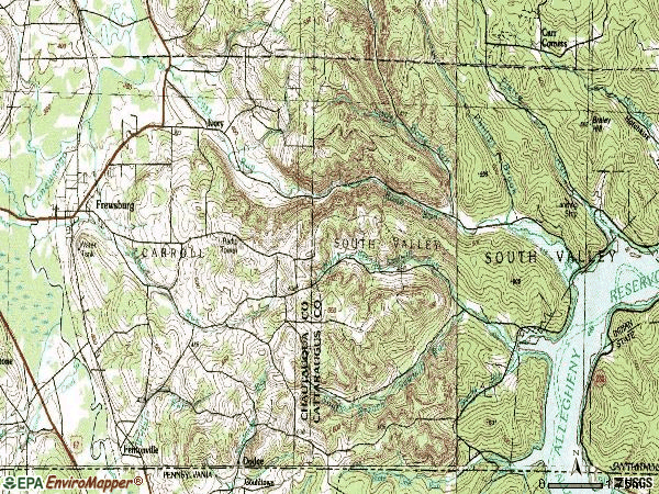 Zip code 14739 topographic map
