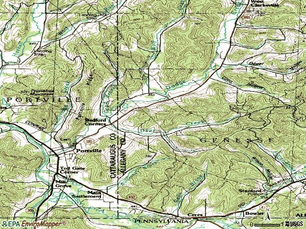 Zip code 14770 topographic map