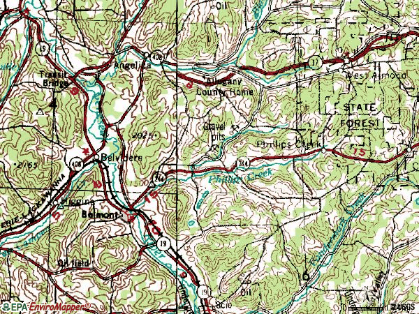 Zip code 14813 topographic map