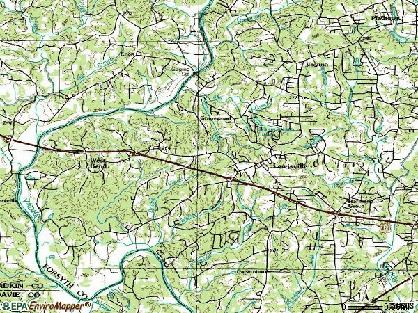 Zip code 27023 topographic map