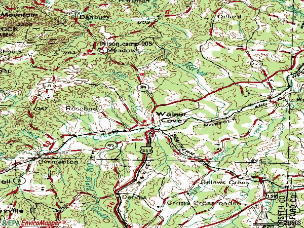Zip code 27052 topographic map