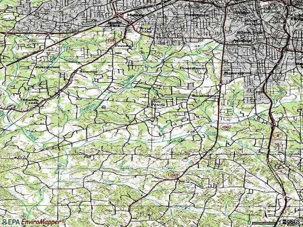 Zip code 27127 topographic map