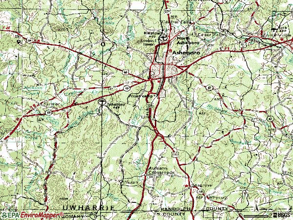 Zip code 27203 topographic map