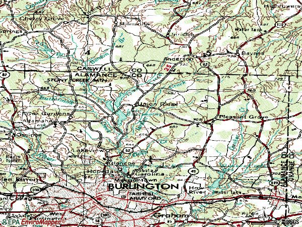 Zip code 27217 topographic map