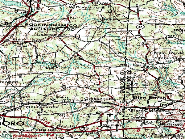 Zip code 27249 topographic map
