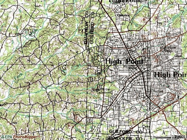 Zip code 27262 topographic map
