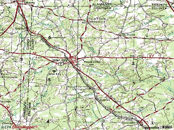 Zip code 27344 topographic map
