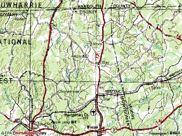 Zip code 27350 topographic map