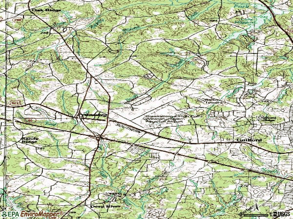 Zip code 27409 topographic map