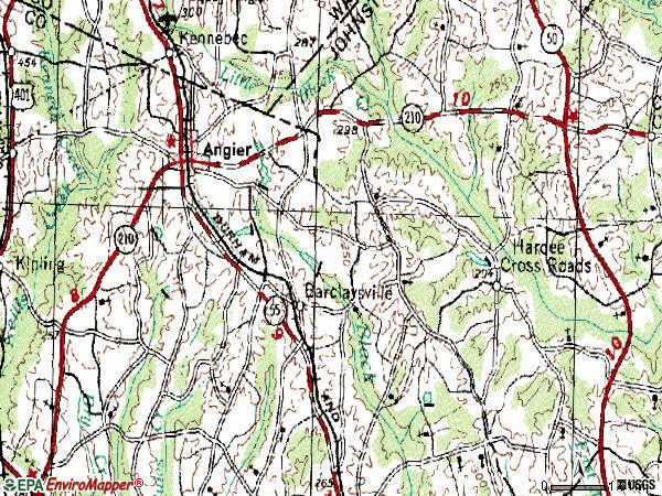 Zip code 27501 topographic map