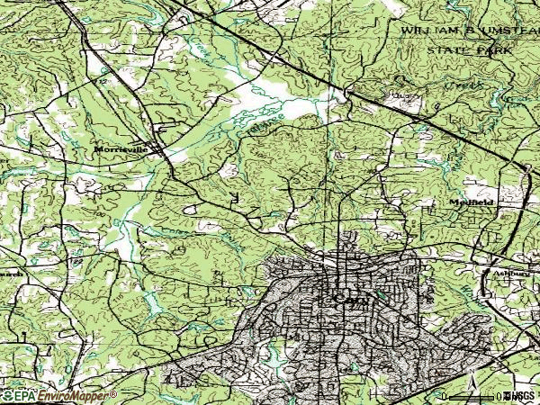 Zip code 27513 topographic map