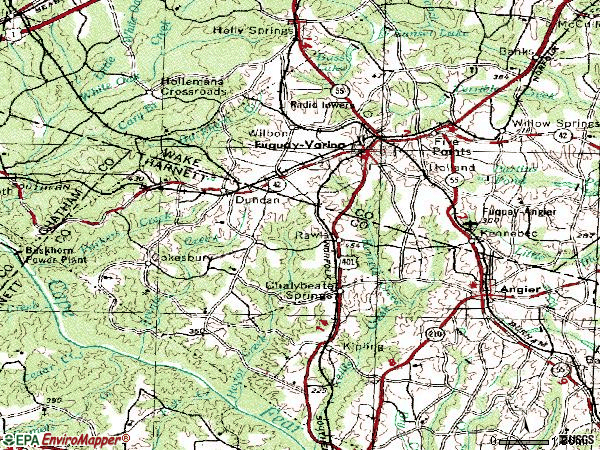 Zip code 27526 topographic map
