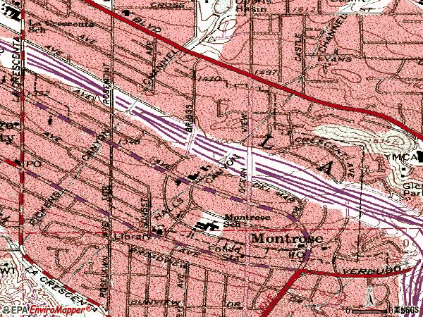 Zip code 91020 topographic map