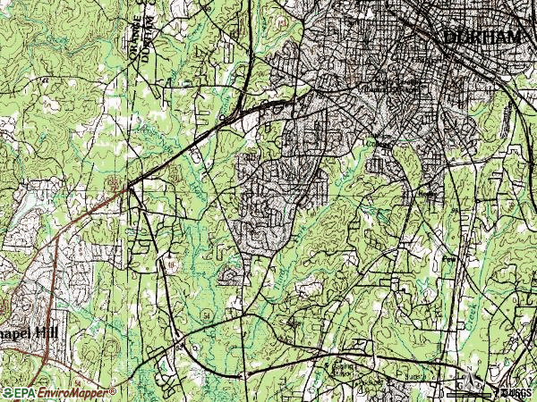 Zip code 27707 topographic map