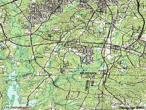Zip code 27713 topographic map