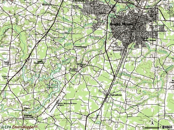 Zip code 27803 topographic map