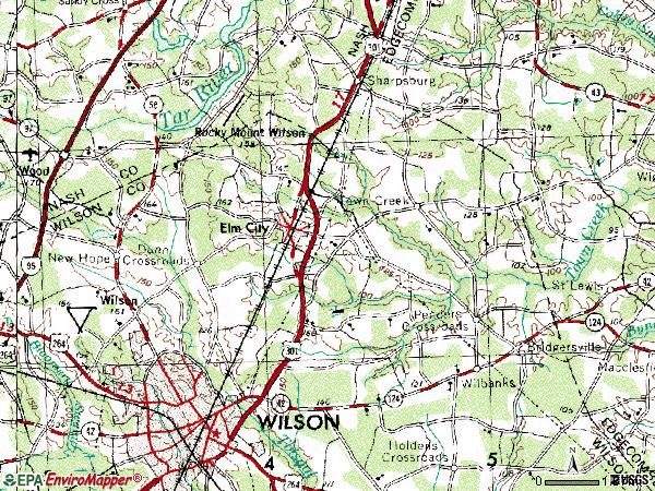 Zip code 27822 topographic map