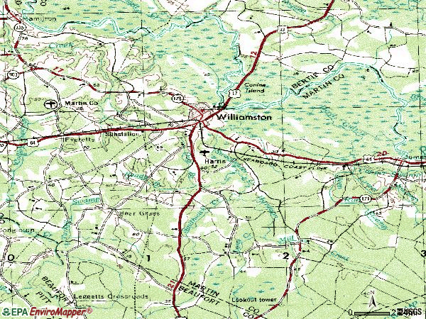 Zip code 27892 topographic map