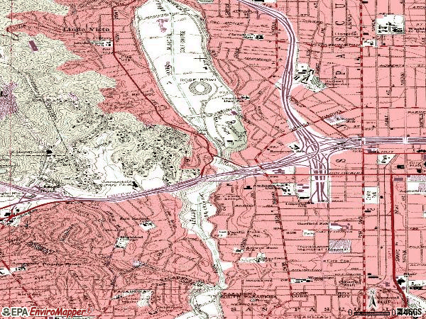 Zip code 91105 topographic map