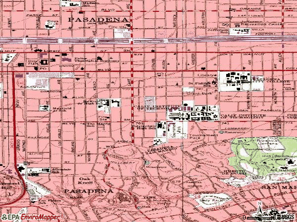 Zip code 91106 topographic map